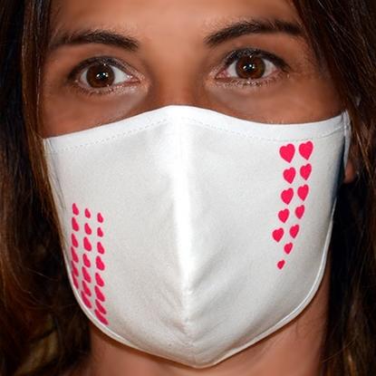 Immagine di Mascherina  bianca donna protettiva copri viso in cotone 100%