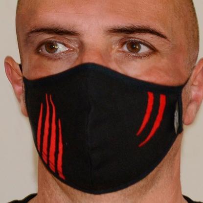 Immagine di Mascherina nera uomo protettiva copri viso in cotone 100%